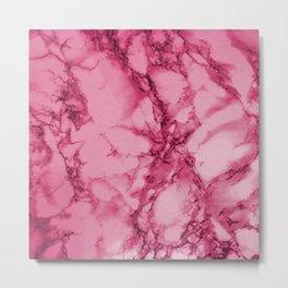 Hot Pink Marble Pattern Metal Print