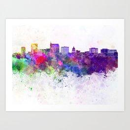 Boise skyline in watercolor background Art Print
