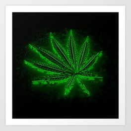 glowing hemp leaf Art Print