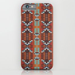Red Brown Turquoise Orange Native American Indian Mosaic Pattern iPhone Case