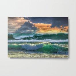 Wave Series Photograph No 8. - Block Island Waves at Sunset Metal Print
