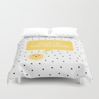 good morning Duvet Covers featuring Good Morning by Elisabeth Fredriksson