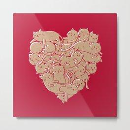 I Love Cats Heart Metal Print