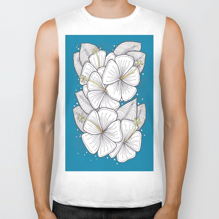 Zentangle Blue and Gold Hibiscus Blossoms for Flower Lovers Biker Tank
