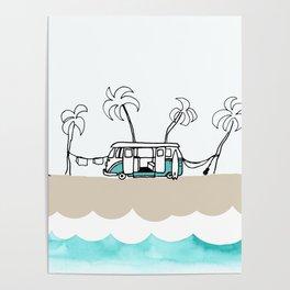 Surfer Van - Surf Art - Gone Surfing Poster