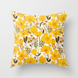 Yellow roaming wildflowers Throw Pillow
