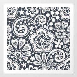 White Lace. Seamless Pattern. Art Print