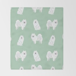 Japanese Spitz pure breed dog pattern pet gifts for dog lovers Throw Blanket