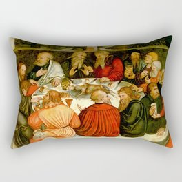 """Lucas Cranach the Elder """"The Last Supper (with Luther among the Apostles)"""" Rectangular Pillow"""