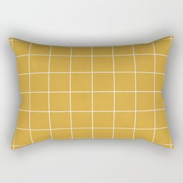 Small Grid Pattern - Mustard Yellow Rectangular Pillow
