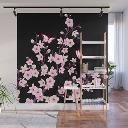 Cherry Blossoms Pink Black Wall Mural
