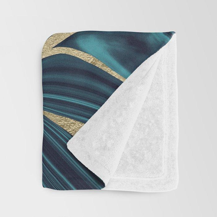 Teal Navy Blue Gold Marble #1 #decor #art #society6 Throw Blanket