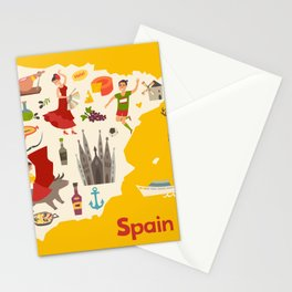 Spain map vector. Illustrated map of Spain for children Stationery Cards