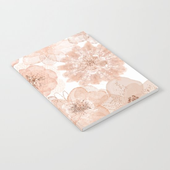 Flowers and Lace- Floral pattern in pink Notebook