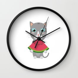 Cat with Melon Wall Clock