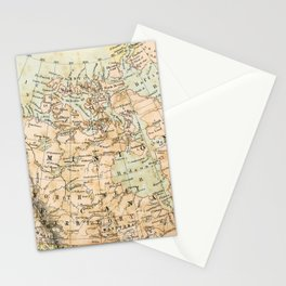 North America Vintage Map Stationery Cards