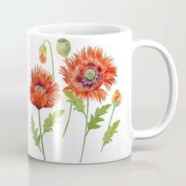 Watercolor Fringed Red Poppies Coffee Mug