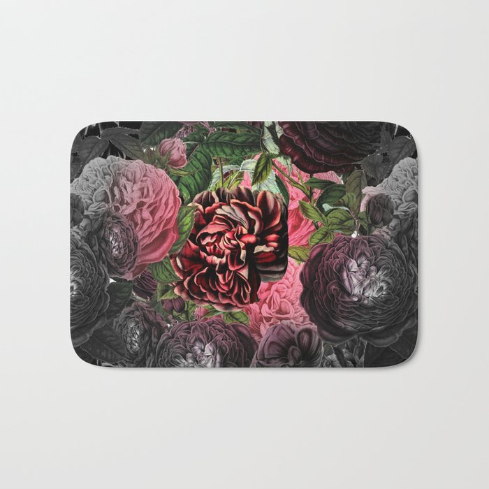 Vintage & Shabby-chic -  floral roses flowers - Flower and Rose Bath Mat