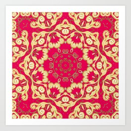 Cassy in Ruby Coral Art Print
