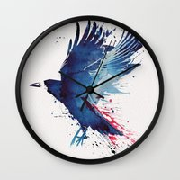 crow Wall Clocks featuring Bloody Crow by Robert Farkas