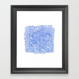 Denver Blueprint City Map Watercolor Framed Art Print