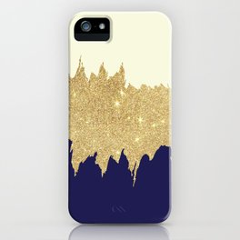 Navy blue ivory faux gold glitter brushstrokes iPhone Case