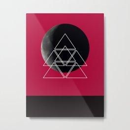 Geometric Moon (Warm Red) Metal Print