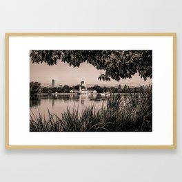 Denver Skyline City Park Reflections at Sunrise - Sepia Framed Art Print