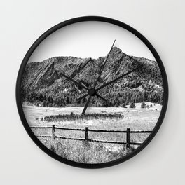 Flatirons Boulder // Black and White Colorado Mountains Snow Dust Fence Line Wall Clock