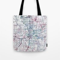 atlanta Tote Bags featuring Atlanta map by MapMapMaps.Watercolors