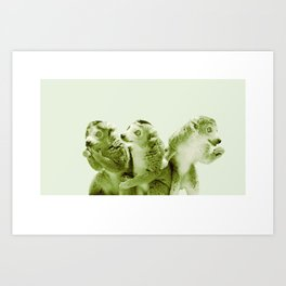 Monochrome - the lemur honeytrap Art Print