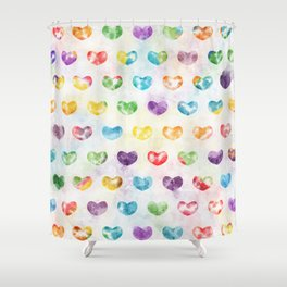 Watercolor Cute Hearts Shower Curtain