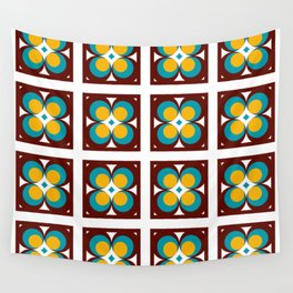 Atomic Flowers Retro Vintage Shapes Graphic Wall Tapestry