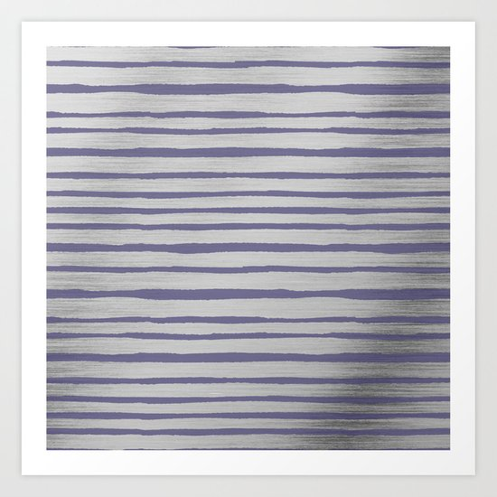 Violet gray silver watercolor brushstrokes stripes by pink_water