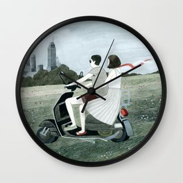 Couple On Scooter Wall Clock