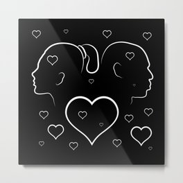 Volumetric red heart cracked. Silhouette man and woman in a quarrel. Metal Print