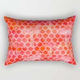 Watercolor Pink Flamingo Tropical Geometric Pattern Rectangular Pillow