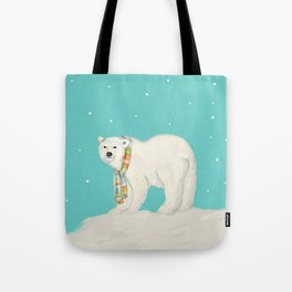 Chilly polar bear in winter Tote Bag