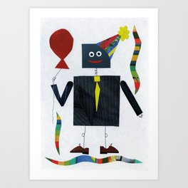 Pin-Striped Robot Art Print