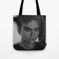 stiles Tote Bags featuring Void Stiles  by Lucy Toyn