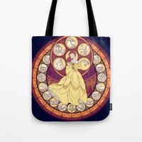 belle Tote Bags featuring Belle by NicoleGrahamART