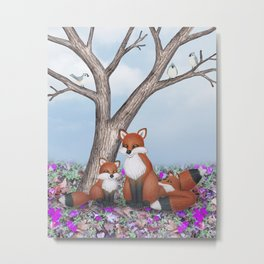 fox, cubs and tufted titmice Metal Print
