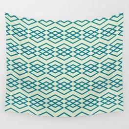 Peacock Blue Geometric Pattern Wall Tapestry
