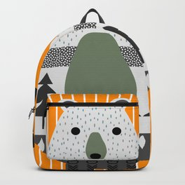 Cute bear, stripes and a fir forest Backpack