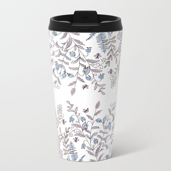 Watercolor pattern . The flowers of the field . Metal Travel Mug