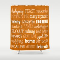 thanksgiving Shower Curtains featuring Thanksgiving Celebration by Tiffany Dawn Smith