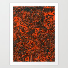 Inky - Orange & Green Art Print