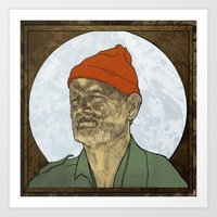 steve zissou Art Prints featuring Steve Zissou by Philipp Banken