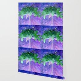 Field flower-blue and violet background Wallpaper