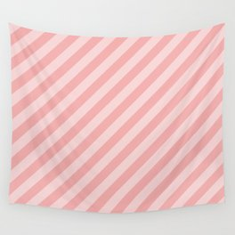 Classic Blush Pink Glossy Candy Cane Stripes Wall Tapestry